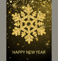 Happy new year congrats banner glitter snowflake vector