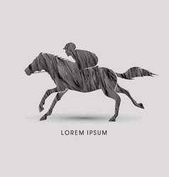horse with jockey horse racing vector image vector image