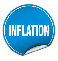 Inflation round blue sticker isolated on white vector