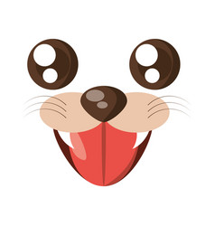 Kawaii face tiger animal expression icon vector