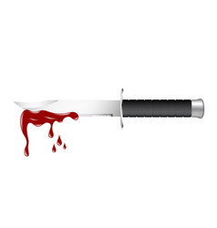 knife with dark handle and bloody blade vector image vector image