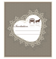 Lace heart shape card vector