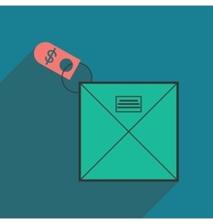 Modern flat icon with shadow envelope of money vector