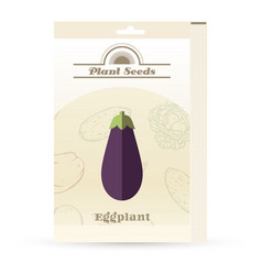 pack of eggplant seeds vector image vector image