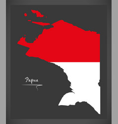Papua indonesia map with indonesian national flag vector