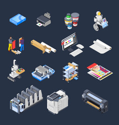 printing isometric icons collection vector image vector image