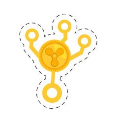 Quarkcoin money golden cut line vector