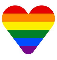 Rainbow flag in heart shape vector