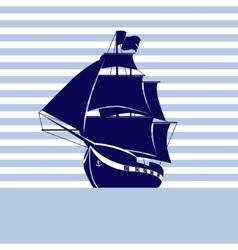 Sailing ship on strip background in the sea vector image
