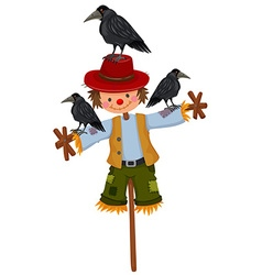 Scarecrow on stick and three crows vector