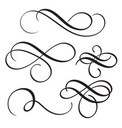 set of vintage flourish decorative art calligraphy vector image