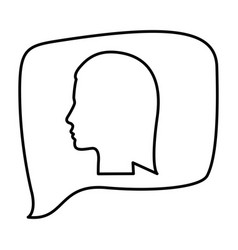 silhouette relief rectangular speech with vector image