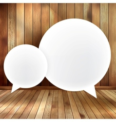 Speech bubble on wooden EPS 10 vector image vector image