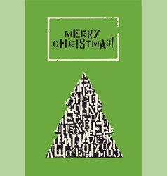 typographic christmas greeting card design vector image