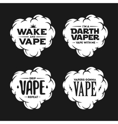 Vape related t-shirt vintage designs set Quotes vector image vector image