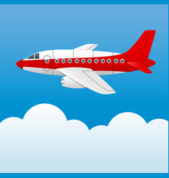 varicolored plane on a background of blue sky and vector image vector image