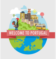 welcome to portugal travel poster of vector image vector image