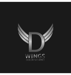 Wings D letter logo vector image vector image