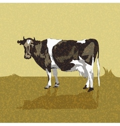 Vintage old card with a cow vector image