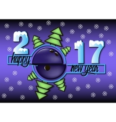 Happy new year 2017 and bowling ball vector