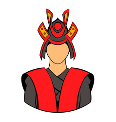 Samurai icon cartoon vector
