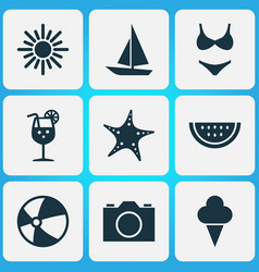 Season icons set collection of video sweets vector