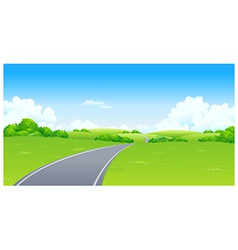 Curved road green landscape vector