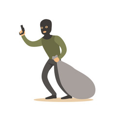 robber in mask with huge sack and gun colorful vector image