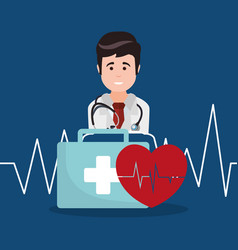 Doctor kit first aid heartbeat vector