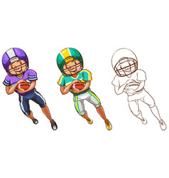 Doodle character for american football player vector