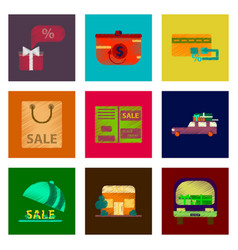 assembly of flat shading style icon gifts and vector image