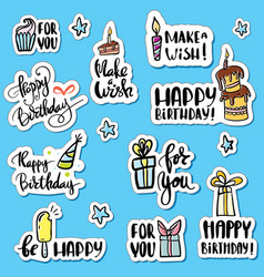 happy birthday sticker set cartoon collection vector image