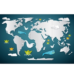 Paper World Map with Fish Boats Birds and Clouds vector image