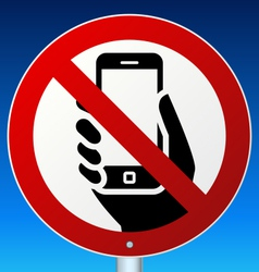 No mobile phones sign on blue vector