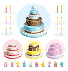 Set cakes for anniversary vector