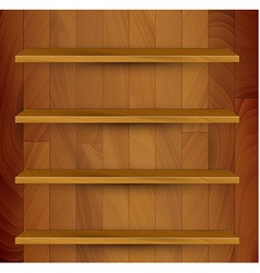 Wooden empty realistic bookcase vector