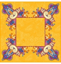 Yellow floral frame ethnic ukrainian ornament vector
