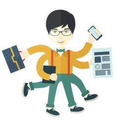 Chinese guy with multitasking job vector image