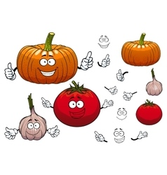 Garlic pumpkin and tomato vegetables vector