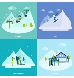 Winter active rest in mountains design concept vector