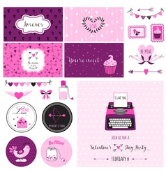 Cute valentines day and love scrapbook set vector
