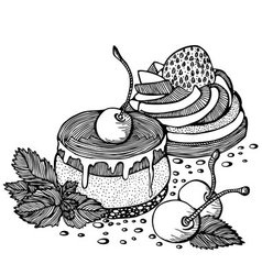 Cakes with cherries and strawberries outline vector