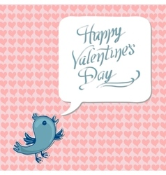 Greeting happy valentine day with blue bird vector