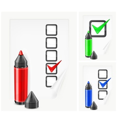 Voting paper color pen vector