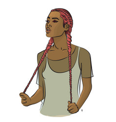 a girl with long pink hair braided in braids vector image vector image