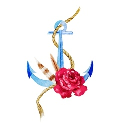 Anchor with flowers vector