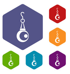 Beauty pearl pendant icons set hexagon vector