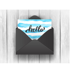 Black opened envelope with hello lettering on vector