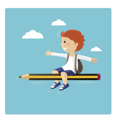 boy flying in a pencil through the sky vector image