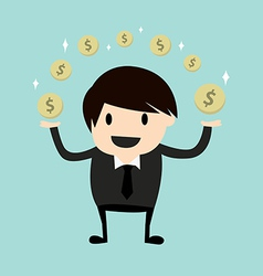 Business man making money vector image